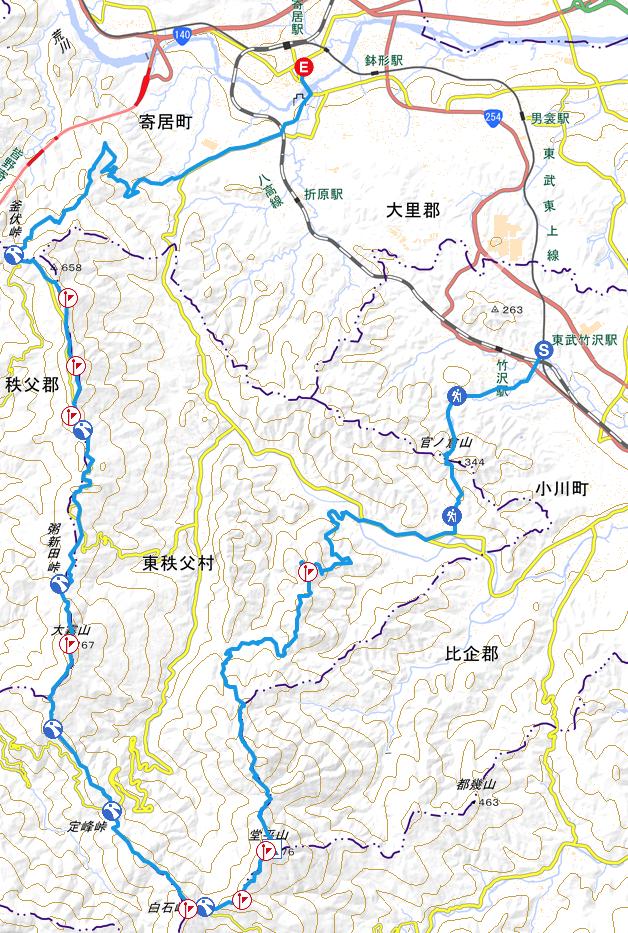 外秩父七峰縦走コースの地図
