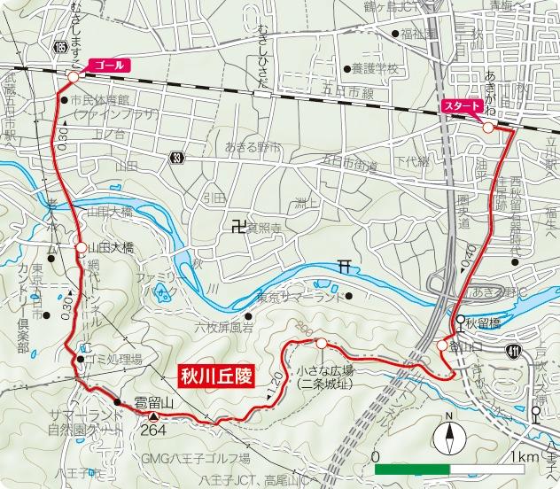 秋川丘陵の地図